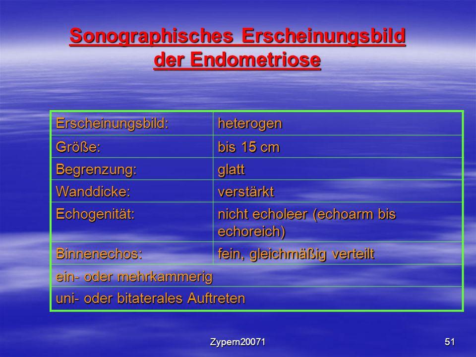 Sonographisches Erscheinungsbild der Endometriose