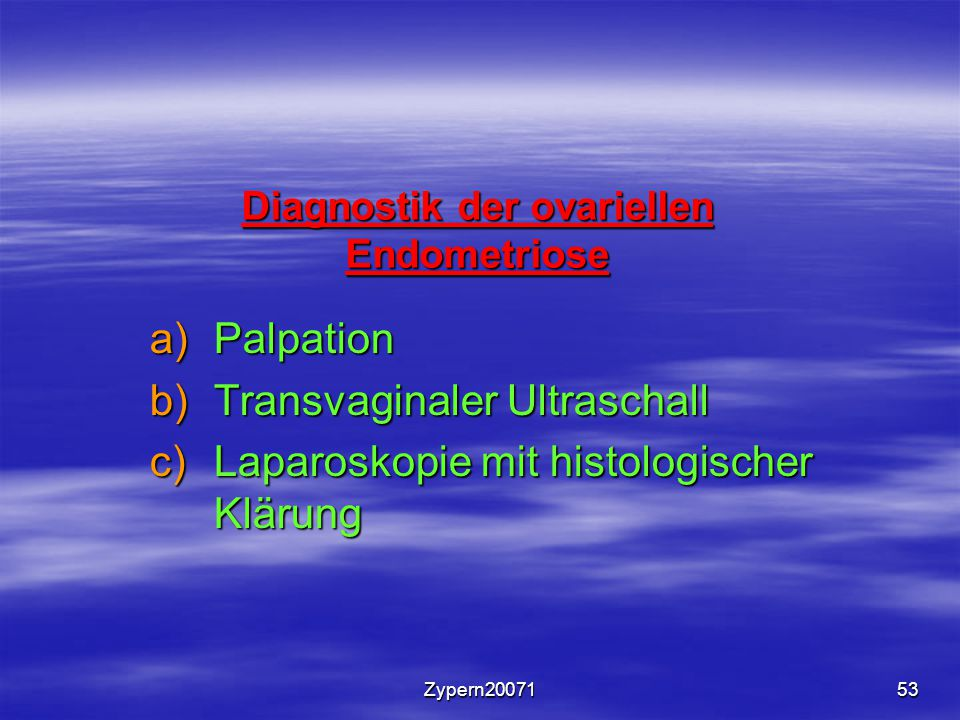 Diagnostik der ovariellen Endometriose