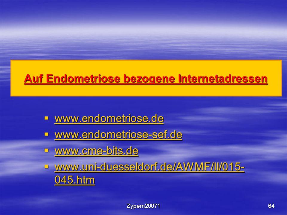 Auf Endometriose bezogene Internetadressen