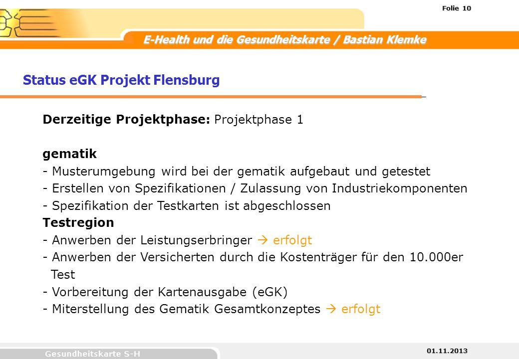 Status eGK Projekt Flensburg