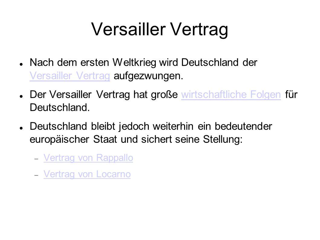 Versailler Vertrag Nach dem ersten Weltkrieg wird Deutschland der Versailler Vertrag aufgezwungen.