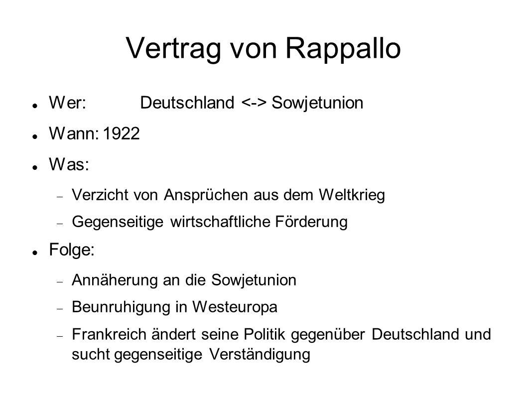 Vertrag von Rappallo Wer: Deutschland <-> Sowjetunion Wann: 1922
