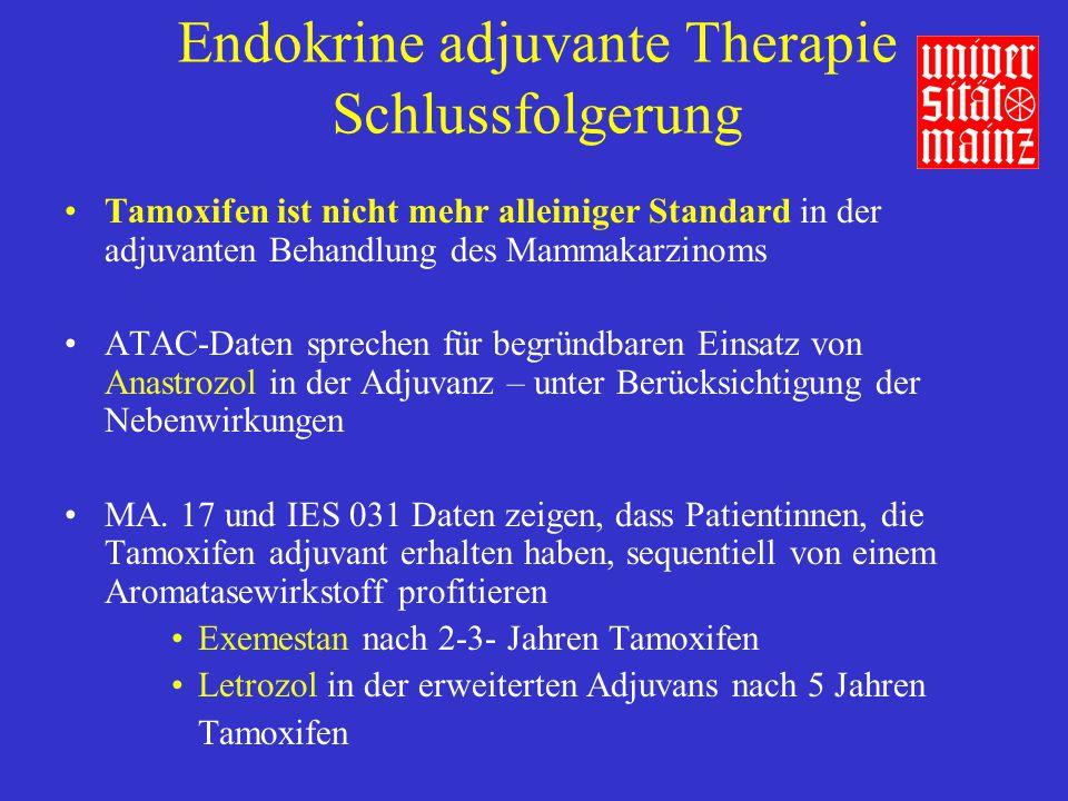 Endokrine adjuvante Therapie Schlussfolgerung