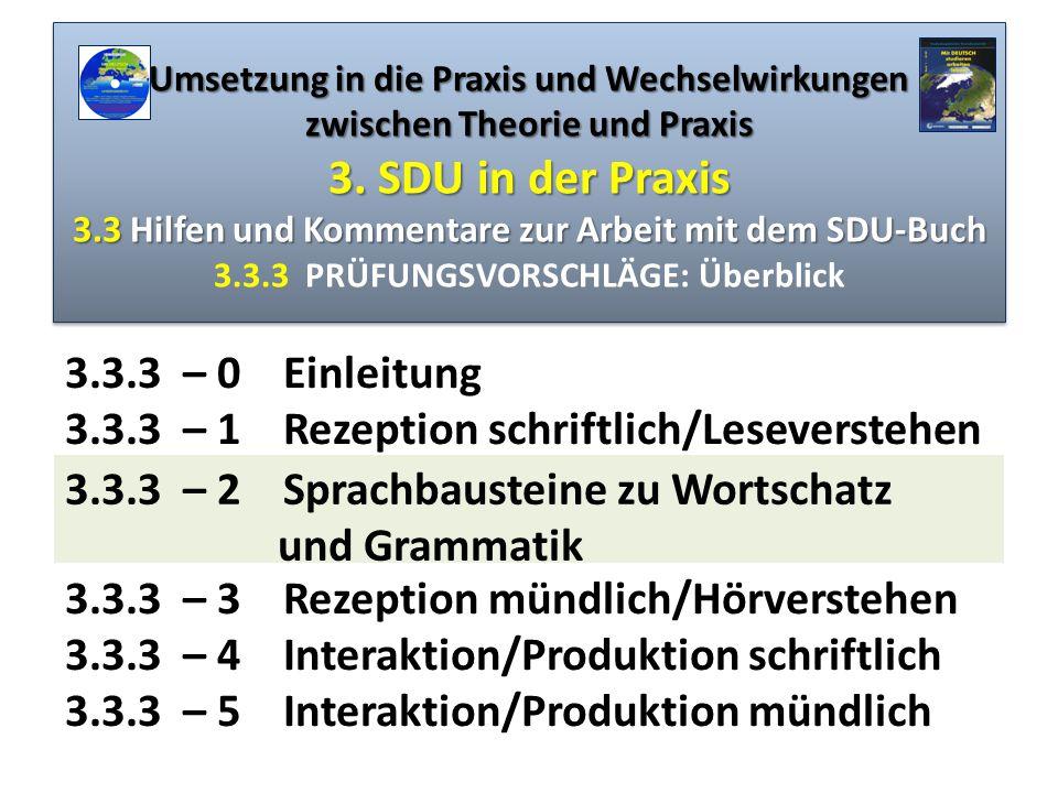 Umsetzung in die Praxis und Wechselwirkungen zwischen Theorie und Praxis 3. SDU in der Praxis 3.3 Hilfen und Kommentare zur Arbeit mit dem SDU-Buch 3.3.3 PRÜFUNGSVORSCHLÄGE: Überblick