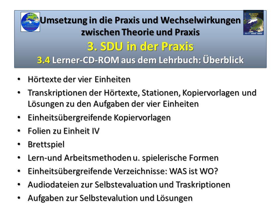 Umsetzung in die Praxis und Wechselwirkungen zwischen Theorie und Praxis 3. SDU in der Praxis 3.4 Lerner-CD-ROM aus dem Lehrbuch: Überblick