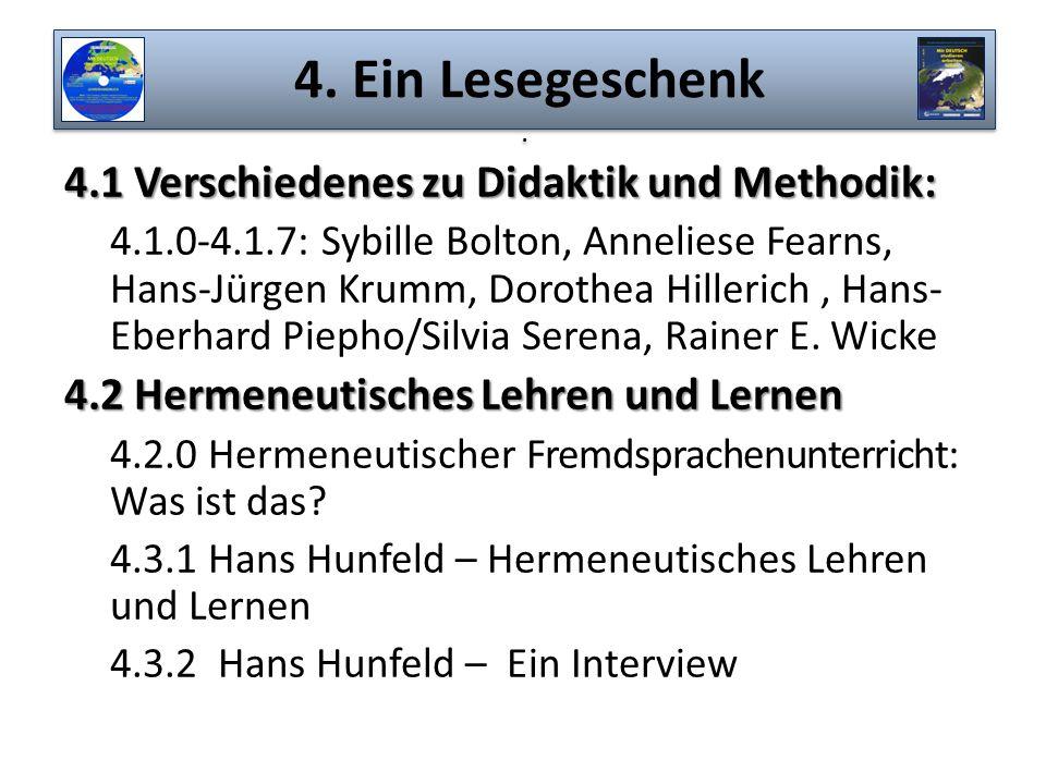 4.1 Verschiedenes zu Didaktik und Methodik: