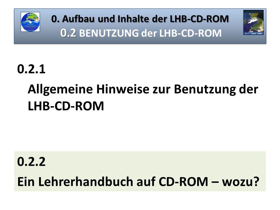 0. Aufbau und Inhalte der LHB-CD-ROM 0.2 BENUTZUNG der LHB-CD-ROM