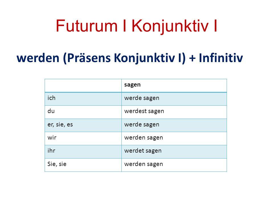 Futurum I Konjunktiv I werden (Präsens Konjunktiv I) + Infinitiv sagen