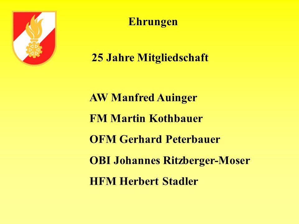 Ehrungen 25 Jahre Mitgliedschaft. AW Manfred Auinger. FM Martin Kothbauer. OFM Gerhard Peterbauer.