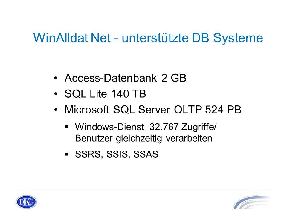 WinAlldat Net - unterstützte DB Systeme