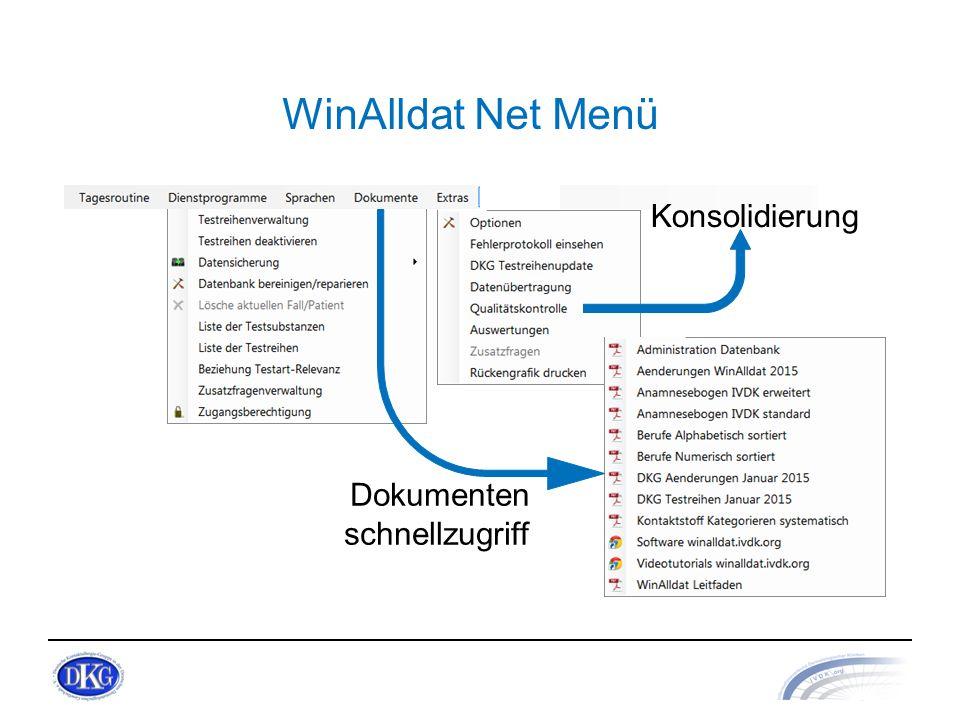 WinAlldat Net Menü Konsolidierung Dokumenten schnellzugriff