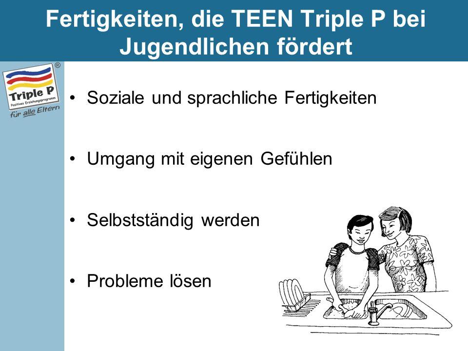 Fertigkeiten, die TEEN Triple P bei Jugendlichen fördert