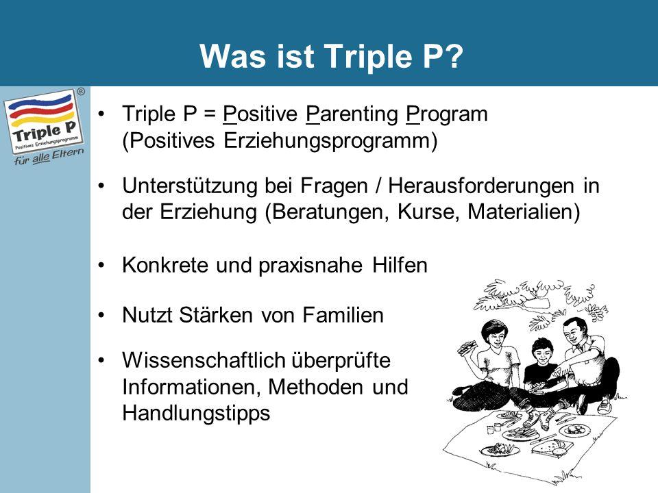 Was ist Triple P Triple P = Positive Parenting Program (Positives Erziehungsprogramm)