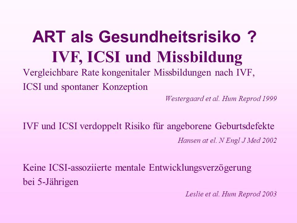 ART als Gesundheitsrisiko IVF, ICSI und Missbildung