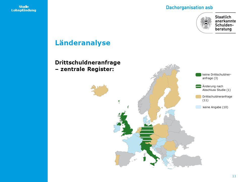 Länderanalyse Drittschuldneranfrage – zentrale Register: