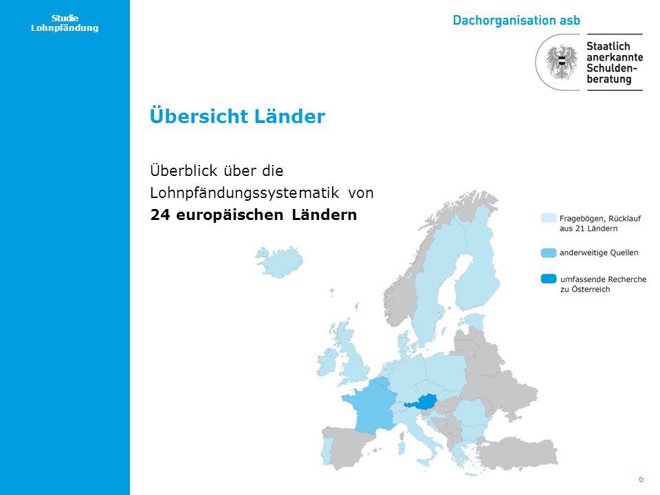 Übersicht Länder Überblick über die Lohnpfändungssystematik von 24 europäischen Ländern