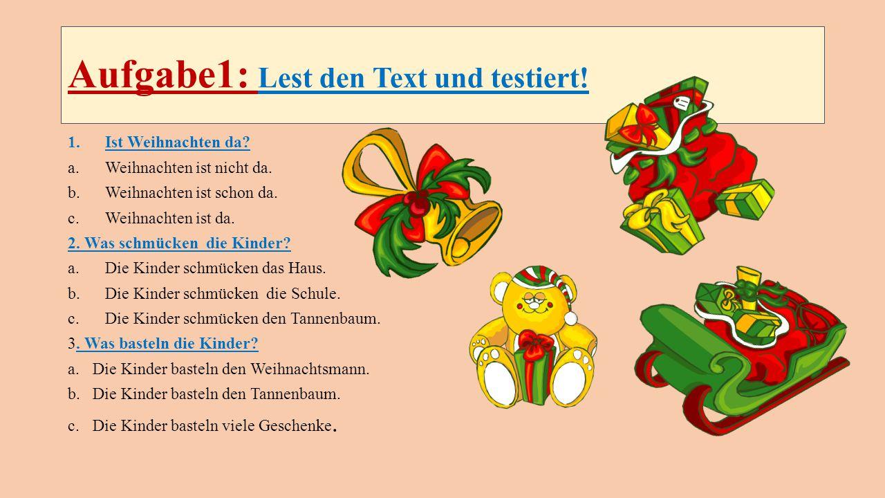 Aufgabe1: Lest den Text und testiert!