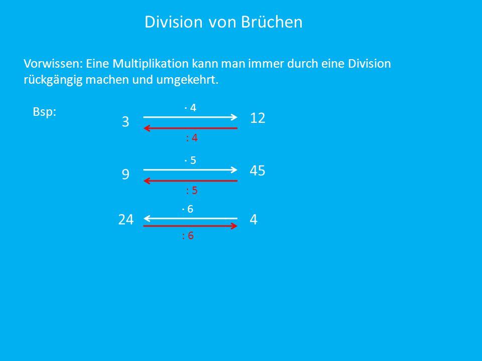 Division von Brüchen Vorwissen: Eine Multiplikation kann man immer durch eine Division. rückgängig machen und umgekehrt.