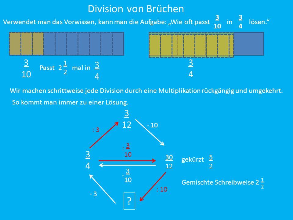 """Division von Brüchen 3. 10. 3. 4. Verwendet man das Vorwissen, kann man die Aufgabe: """"Wie oft passt in lösen."""