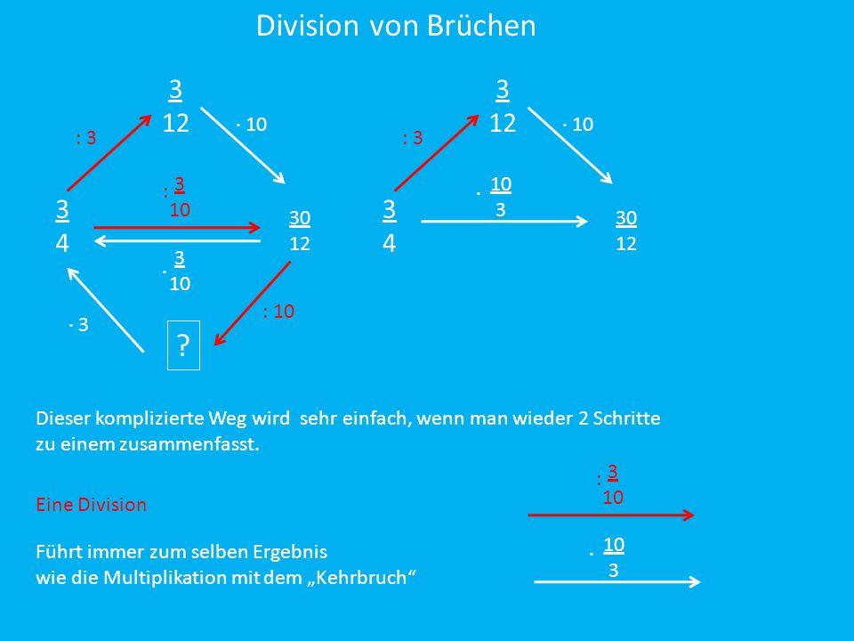 Division von Brüchen 3 12 3 12 3 4 3 4 ∙ 10 ∙ 10 : 3 : 3 3 10 :