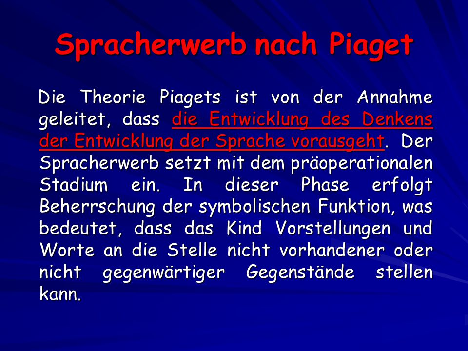 Spracherwerb nach Piaget
