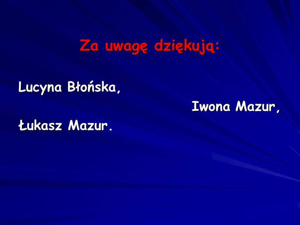 Za uwagę dziękują: Lucyna Błońska, Iwona Mazur, Łukasz Mazur.
