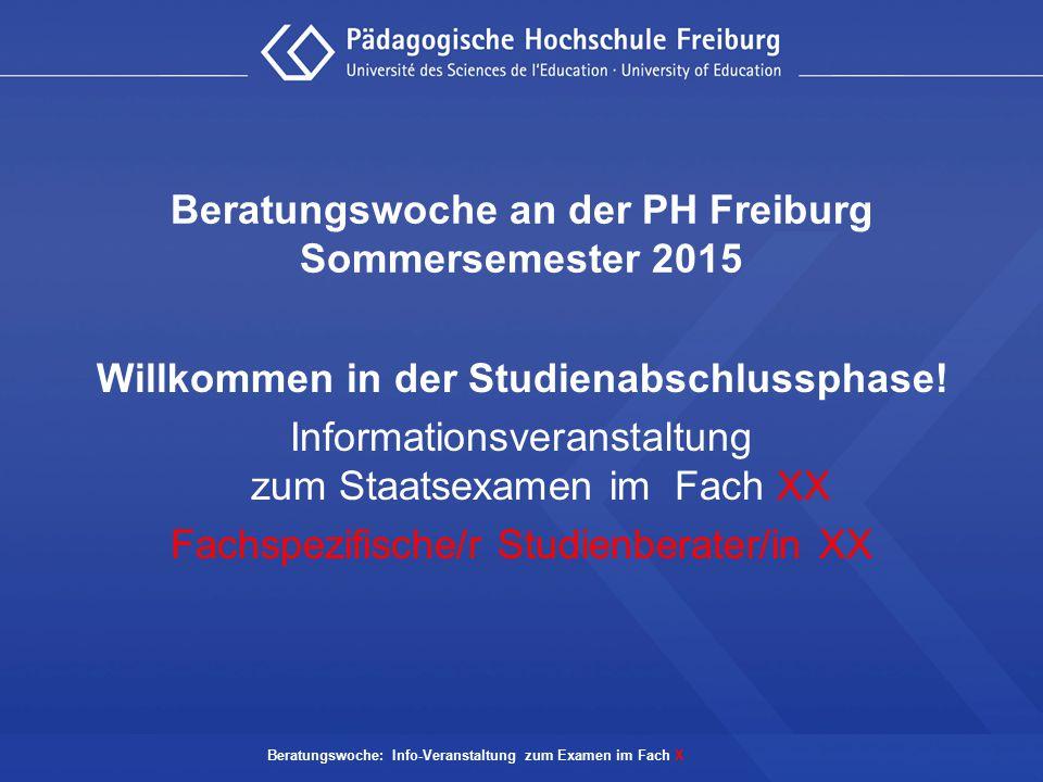Beratungswoche an der PH Freiburg Sommersemester 2015