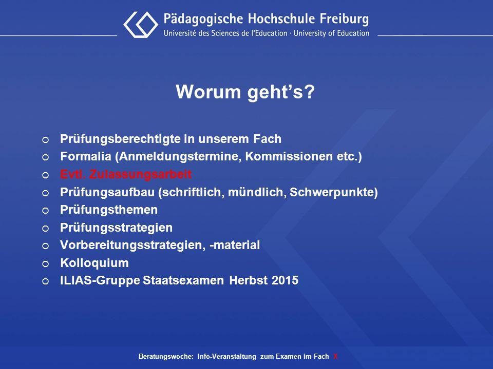 Beratungswoche: Info-Veranstaltung zum Examen im Fach X