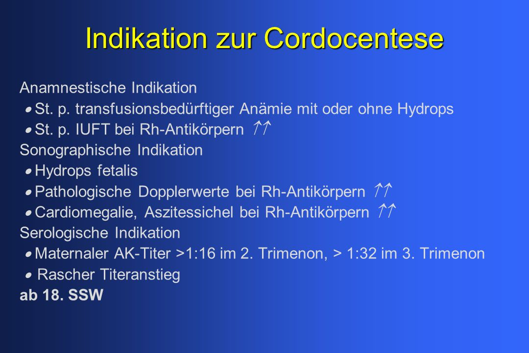 Indikation zur Cordocentese