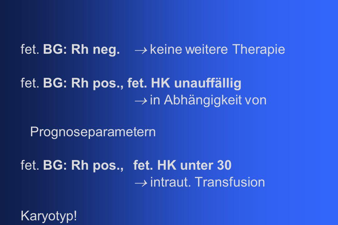fet. BG: Rh neg. ® keine weitere Therapie