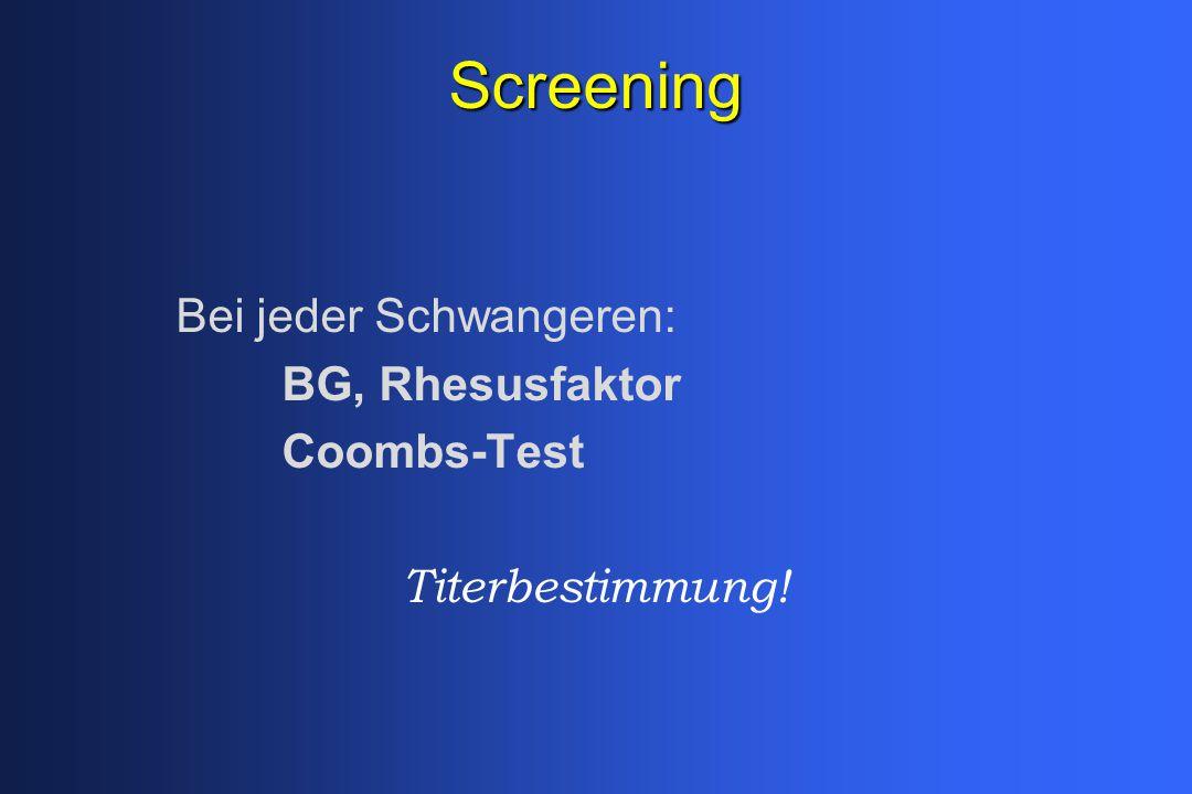 Screening Bei jeder Schwangeren: BG, Rhesusfaktor Coombs-Test