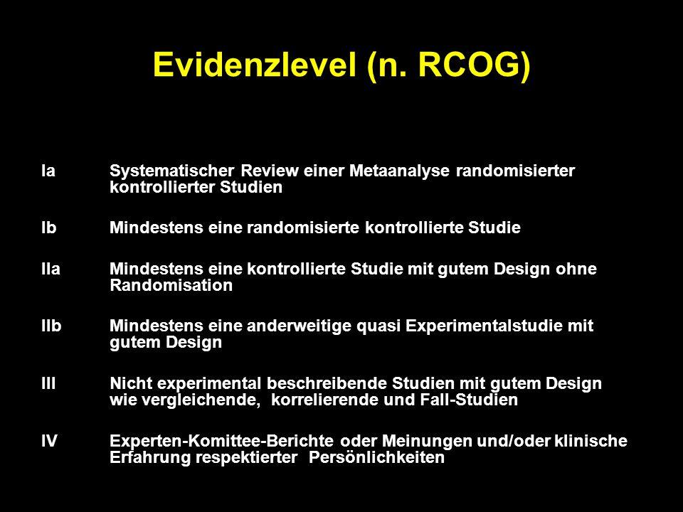 Evidenzlevel (n. RCOG) Ia Systematischer Review einer Metaanalyse randomisierter kontrollierter Studien.