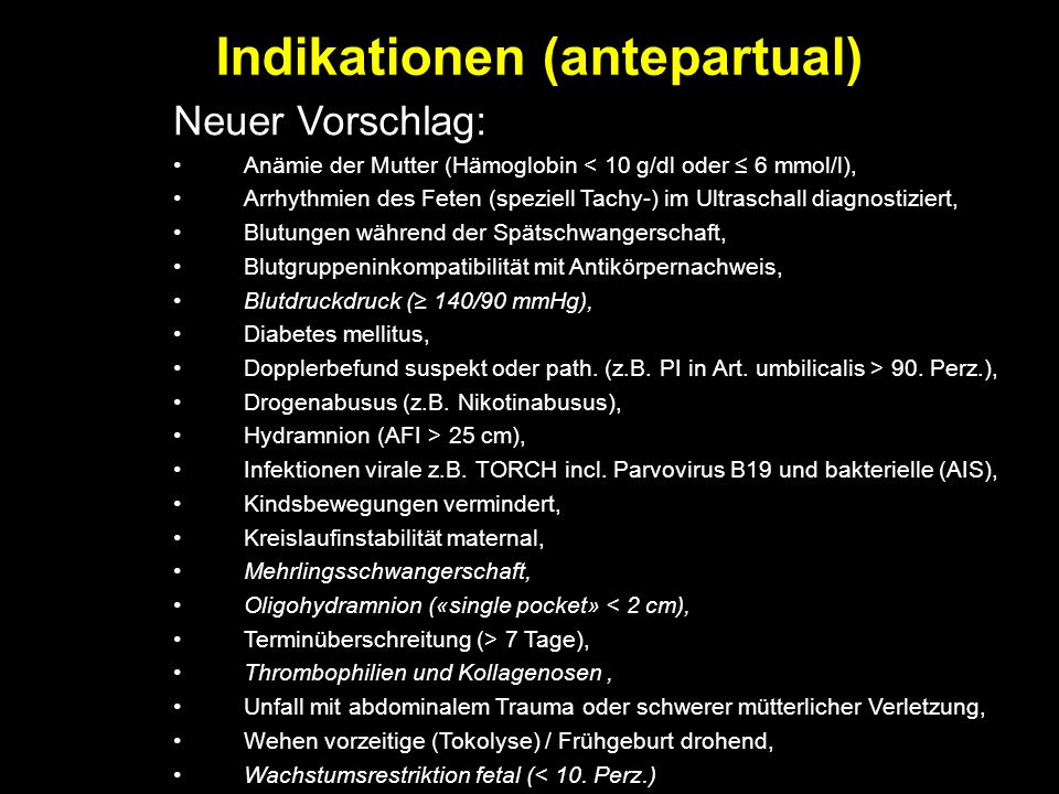 Indikationen (antepartual)