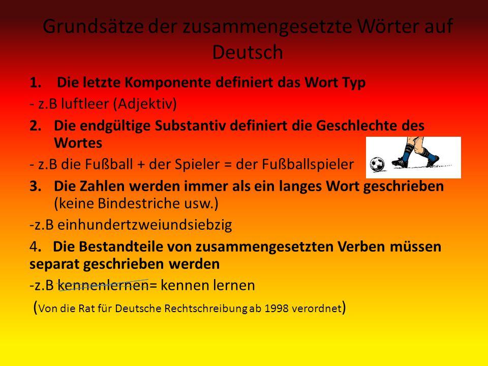 Grundsätze der zusammengesetzte Wörter auf Deutsch