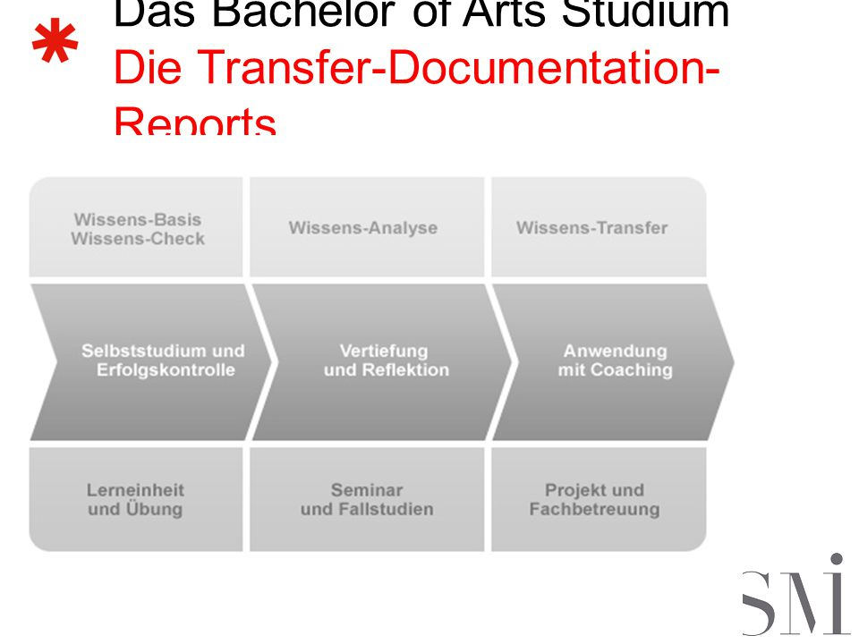 Das Bachelor of Arts Studium Die Transfer-Documentation-Reports