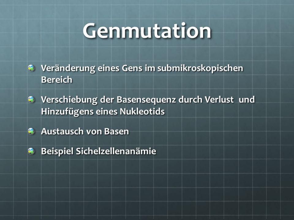 Genmutation Veränderung eines Gens im submikroskopischen Bereich