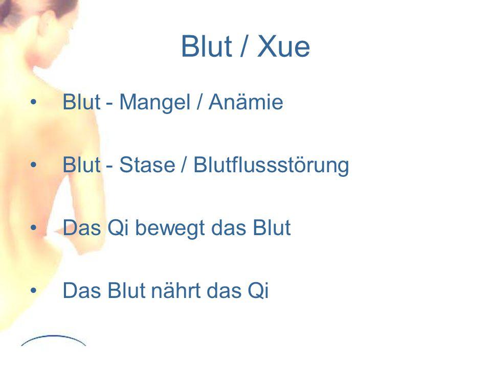 Blut / Xue Blut - Mangel / Anämie Blut - Stase / Blutflussstörung