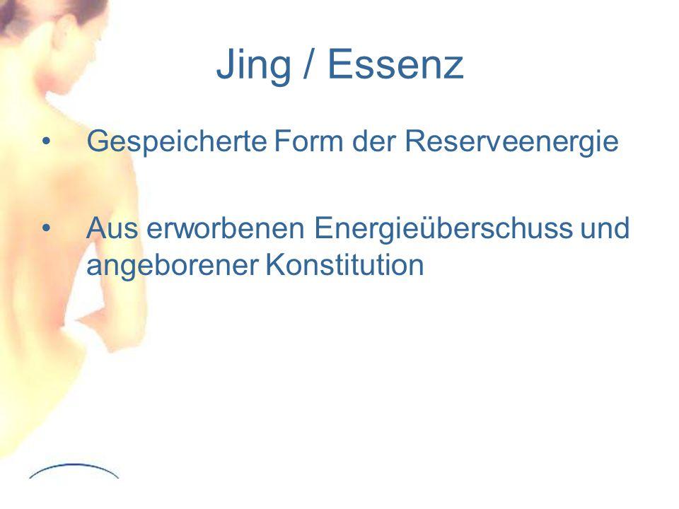 Jing / Essenz Gespeicherte Form der Reserveenergie