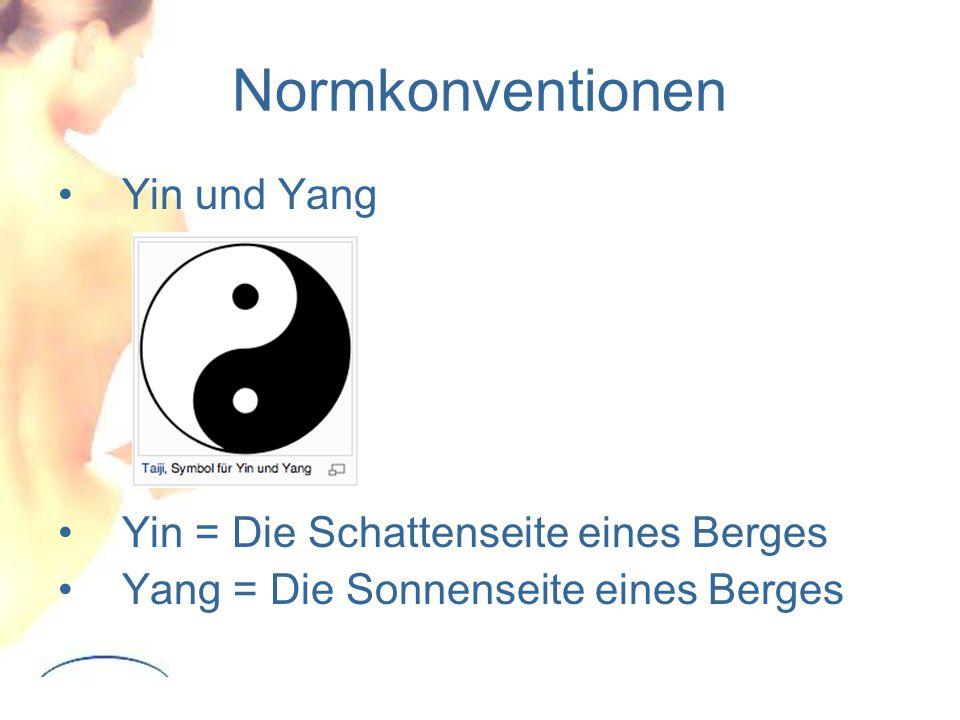 Normkonventionen Yin und Yang Yin = Die Schattenseite eines Berges
