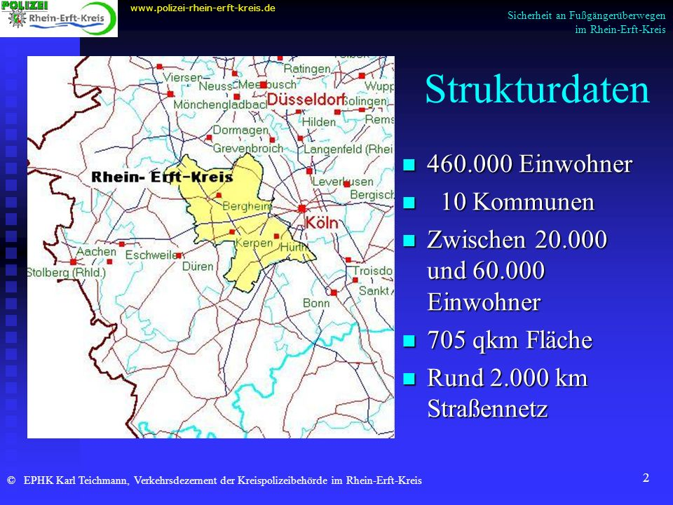 Strukturdaten 460.000 Einwohner 10 Kommunen