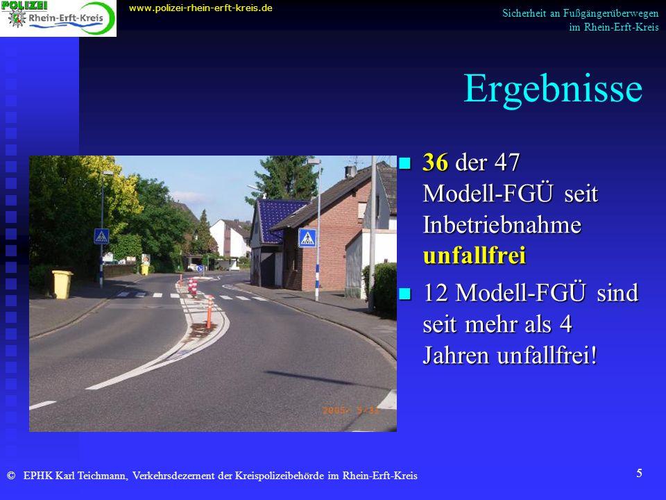 Ergebnisse 36 der 47 Modell-FGÜ seit Inbetriebnahme unfallfrei