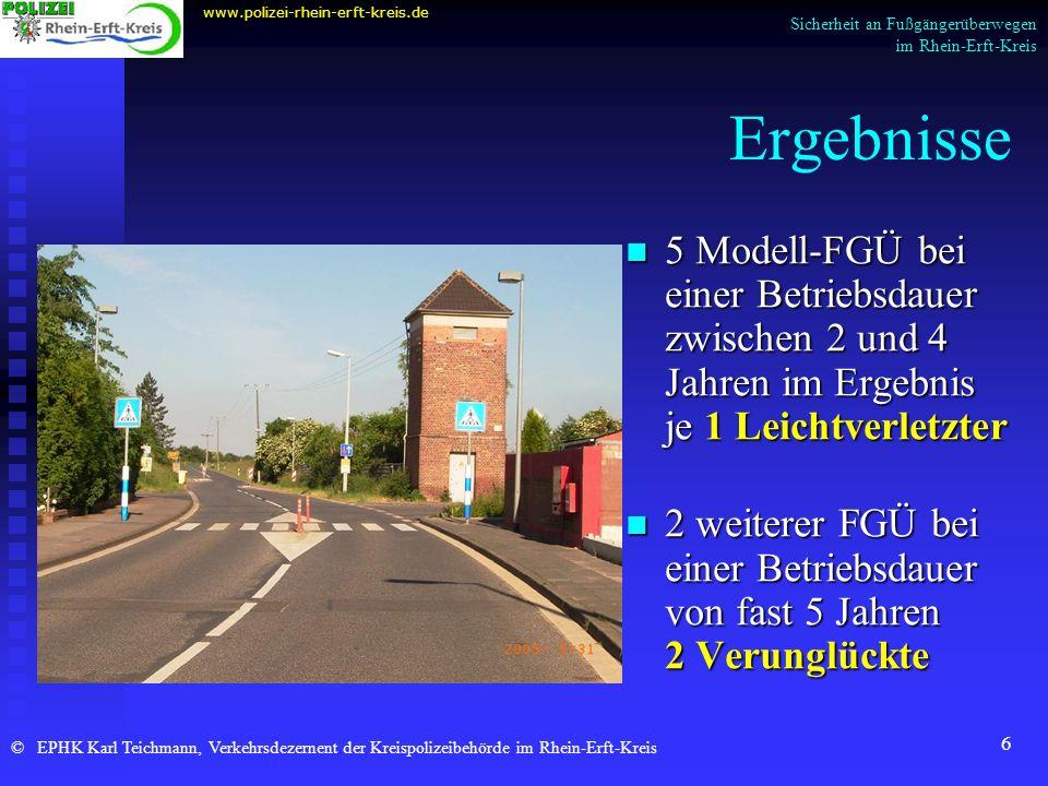 www.polizei-rhein-erft-kreis.de Sicherheit an Fußgängerüberwegen im Rhein-Erft-Kreis. Ergebnisse.