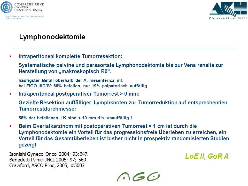Lymphonodektomie LoE II, GoR A
