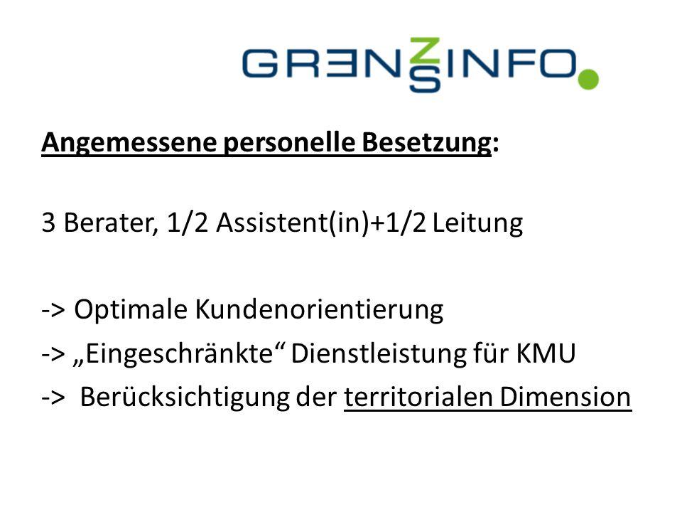 """Angemessene personelle Besetzung: 3 Berater, 1/2 Assistent(in)+1/2 Leitung -> Optimale Kundenorientierung -> """"Eingeschränkte Dienstleistung für KMU -> Berücksichtigung der territorialen Dimension"""