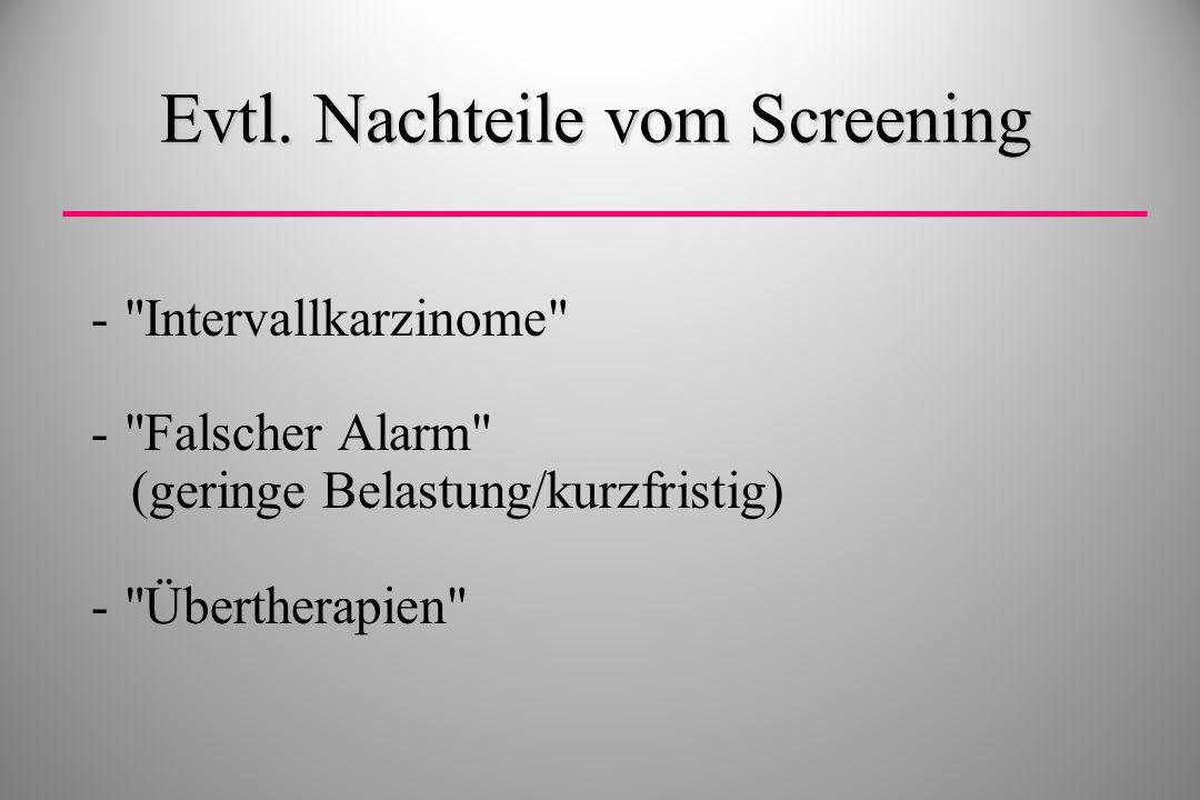 Evtl. Nachteile vom Screening