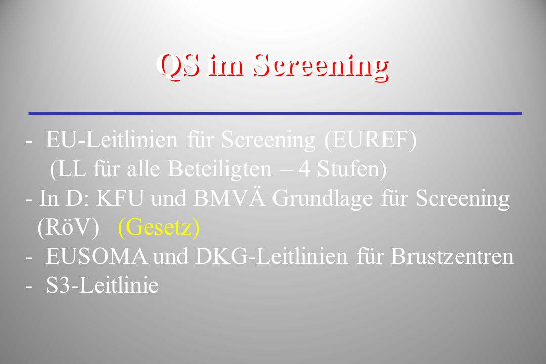 QS im Screening EU-Leitlinien für Screening (EUREF)