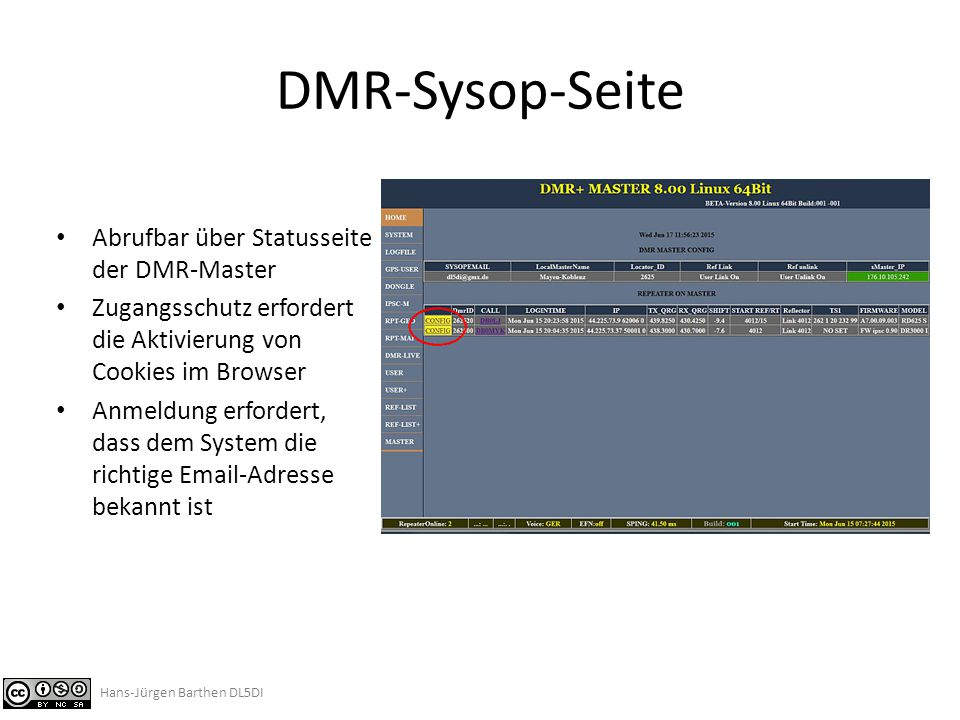DMR-Sysop-Seite Abrufbar über Statusseite der DMR-Master