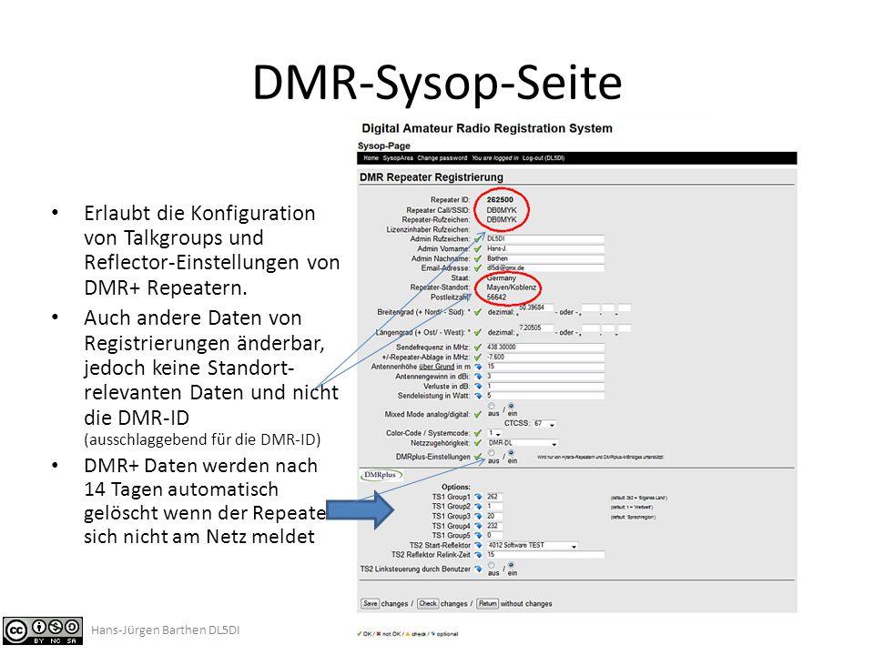 DMR-Sysop-Seite Erlaubt die Konfiguration von Talkgroups und Reflector-Einstellungen von DMR+ Repeatern.