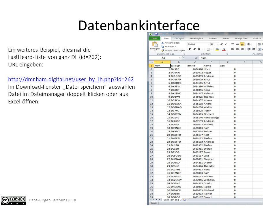 Datenbankinterface Ein weiteres Beispiel, diesmal die
