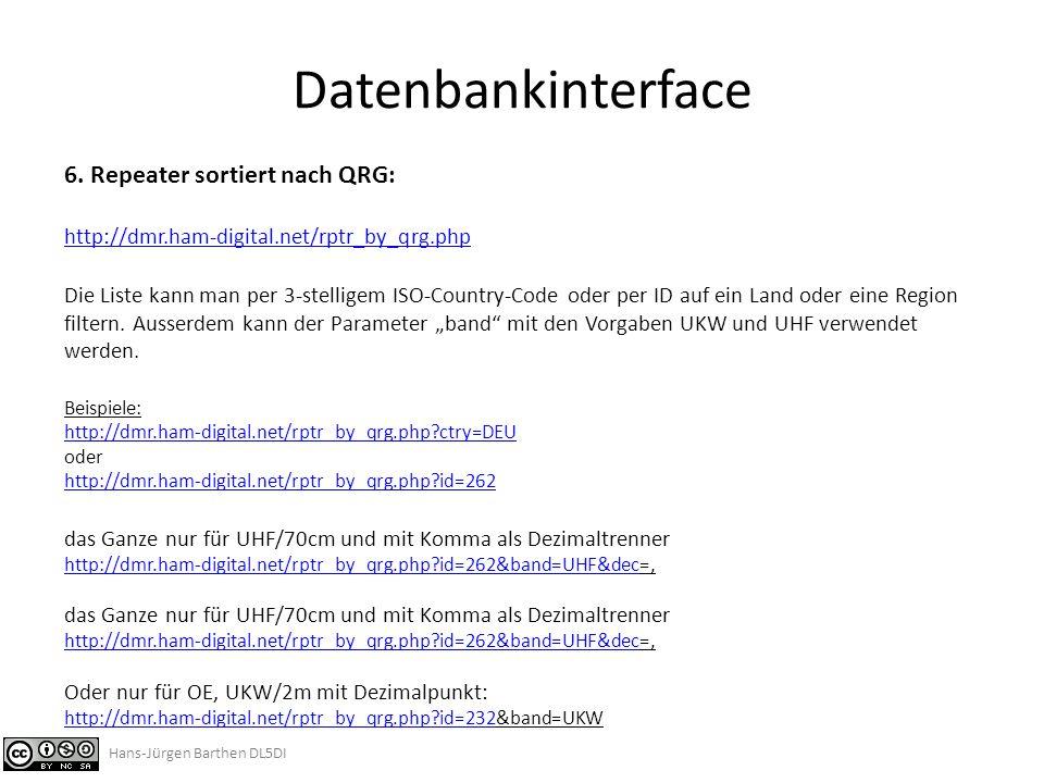 Datenbankinterface 6. Repeater sortiert nach QRG:
